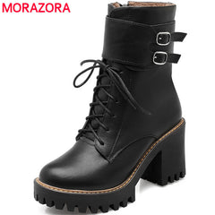 Fashionable Autumn Winter Design Buckle Round Toe Platform Lace up Shoes