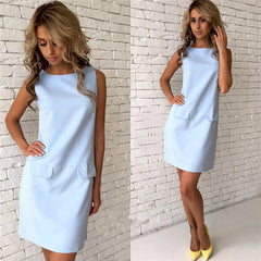 Summer Casual Women Sleeveless O-neck Sexy Office Dress LJ9075E