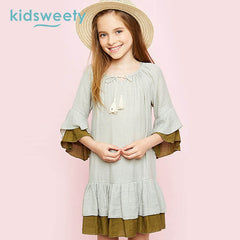 Kidsweety Girls Dresses 2017 Summer Color Block Falbala Pullover Pleated Girls Dresses