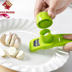 Hourong 1Pc Multi-functional Plastic+Stainless Steel Grinding Garlic Presses