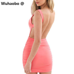 Wuhaobo Multi Colors Sexy Bandage Women Party Dress Vestidos 2017