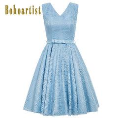 Bohoartist Lace Up Pin Up Floral Solid Blue Bow V-neck Sexy Back Women Vintage Dresses