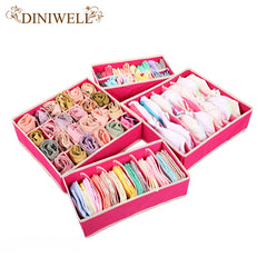 DINIWELL 4PCS Storage Boxes For Ties Socks Shorts Bra Underwear Divider Drawer Lidded Closet Organizer