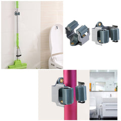 5pcs Kitchen Storage Organizer Mop and Broom HolderRack 5 Position with 6 Hooks Garage Holds