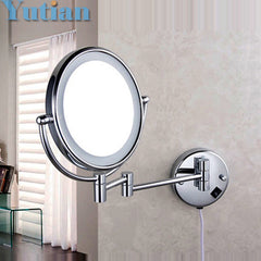 "Free shipping LED light makeup 8"" round dual sides 3X /1X mirrors dual arm extend magnifying mirror"