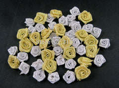 1.5cm Mixed Gold and Silver Rosette Satin Flower Girls Boutique 50pcs 14020034(1.5HS50)