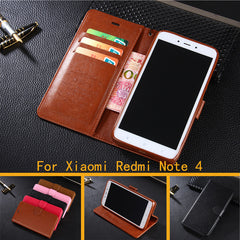AZNS PU Leather Flip Cover Case for Xiaomi Redmi Note 4/Note 4 Pro