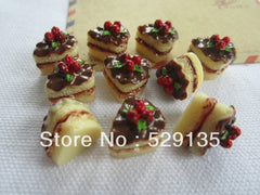 Free Shipping! Resin Miniature Chocolate Cake for Phone Decoration, Crafts Making DIY (14*15mm)
