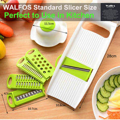 WALFOS Mandoline potato Slicer Vegetables Cutter with 5 Stainless Steel Blade