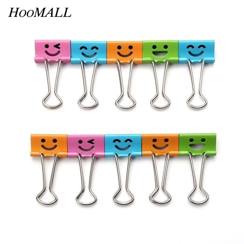 Cute Kawaii Smile Metal Binder Clips Bag Clips Note Clips 10PCs