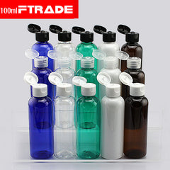 (10pcs/lot) 100ml shampoo plastic travel bottles with flip top cap