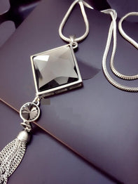 Square Pendant Long Tassel Crystal Necklace Fashion Jewelry for Women