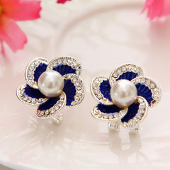Austrian Crystal Simulated Pearl Stud Earrings For Women
