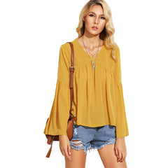 SheIn Autumn Woman Blouses Casual Tops Yellow V Neck Long Sleeve