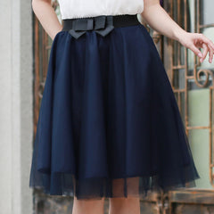 Tulle Summer Style Elastic Waist with Bow Pleated Skirts for Women