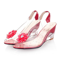 Bohemian Flower Summer Peep Toe Crystal Jelly Sandals