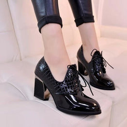 High Heels Ankle Lace-up Faux Leather Waterproof Hollow Out Shoes