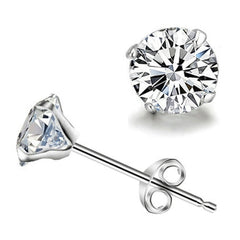 Crystal Zircon Brinco Round Shape Silver Plated Stud For Women