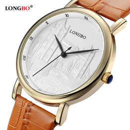 LONGBO Luxury Quartz Casual Leather Watch for Men/Women