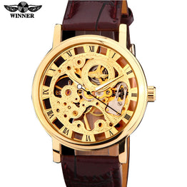 Skeleton Hand Mechanical Mens Brown black artificial leather Watch