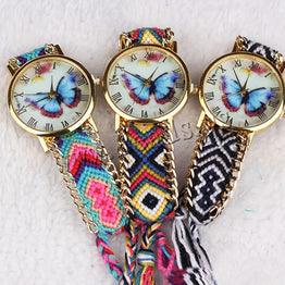 Handmade Braided Butterfly Friendship Women Bracelet Watch