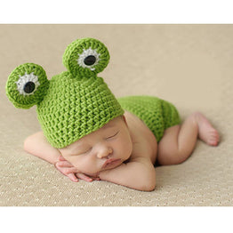 Newborn Knitted Crochet Frog Hats clothing set
