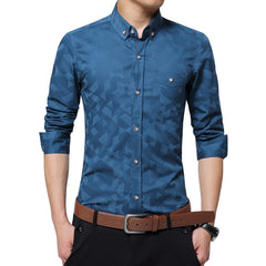 Men's Shirt Long Sleeve Jacquard Weave Slim Fit Shirt Business Casual Cotton Shirt