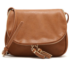 Hot Tassel Solid PU Leather Cross Body Handbags for Women