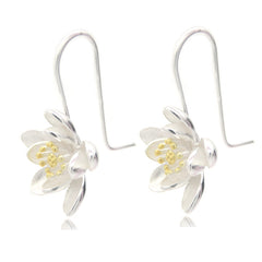 Big Lotus Sterling Silver Earrings For Women