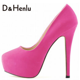 Classic 14cm Round Toe Elegant Flock High Heels Pumps