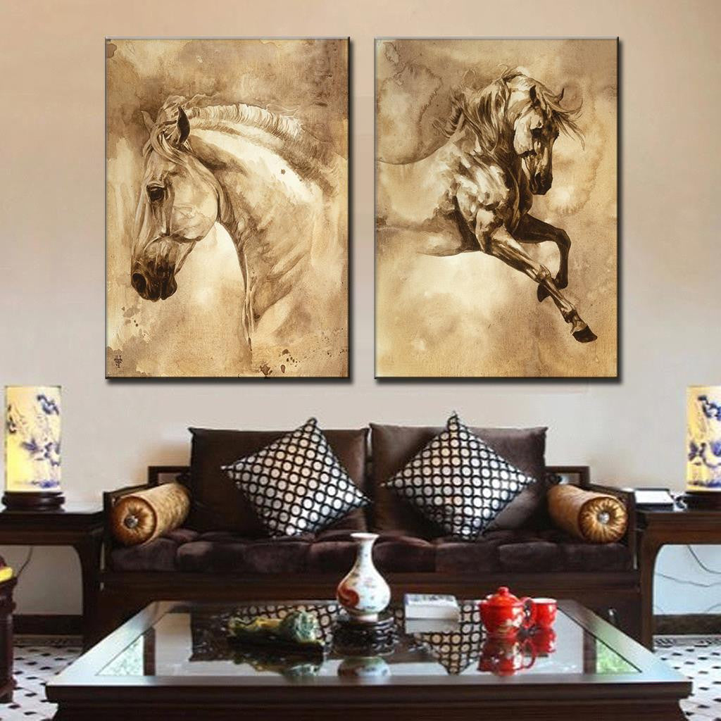 2 Pcs Modern European Horse Oil Painting On Canvas Wall Decoration