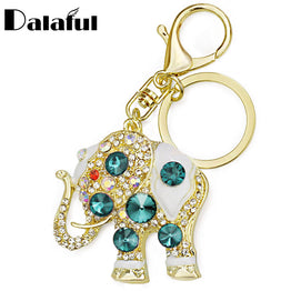 Trendy Crystal Elephant Buckle Key chains Holder