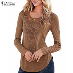 ZANZEA Women Blouses Long Sleeve O Neck Hollow Out Casual Slim Fit Shirts
