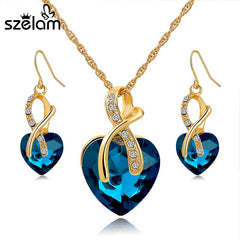 Gold Plated Crystal Heart Necklace with Earrings Jewellery Set  For Women