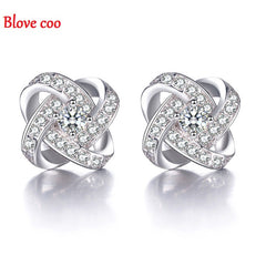 Fashion Sterling Silver Eternal Heart Diamond Crystal Earrings for Women