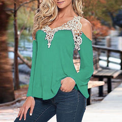 ZANZEA Lace Patchwork WomenSexy Blouse Off Shoulder V Neck Shirt Ladies Long Sleeve