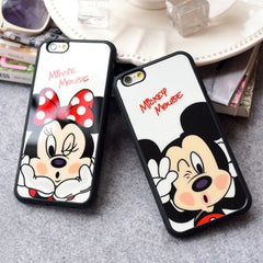 Minnie Mickey Mouse Silicone Mirror Phone Case for iphone 7 6 6s Plus 5 5s