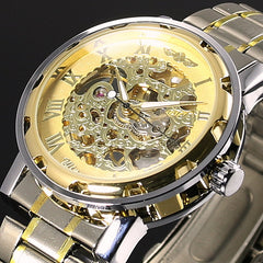 Transparent Gold Skeleton Mechanical Stainess Steel Watch