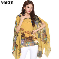 Women blouses chiffon shirts printed tops flower long batwing