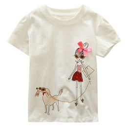 Short Sleeve Cartoon Pattern Cotton Tees for Girls