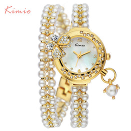 Korea Luxury butterfly pearls bracelet Watch Women