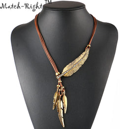 Alloy Feather Statement Rope Chain Vintage Necklace for Women