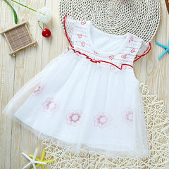 Cute O-neck Floral Cotton Princess Dress for Girls