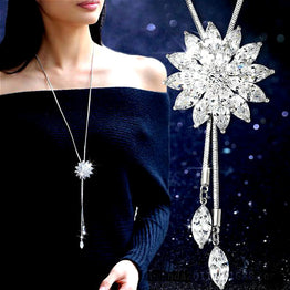 Tassel Sunflower White Crystal Classic Long Necklace for Women