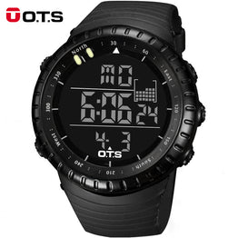 OTS Cool Black Mens Fashion LED Digital Swimming Climbing Outdoor Man Sports Watches