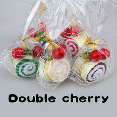 Lovey soft With Two Cherry Top Decor Roll Cotton Cake Towel