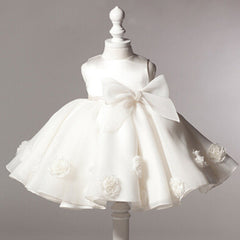 Baby Girls Party / Wedding Lace up 3D Rose Toddler dresses