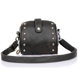 Solid PU Leather Mini Shoulder Bag for Women