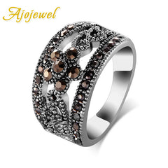 Ajojewel Fashion Jewelry Silver Plated Black CZ Flower Vintage Retro Ring Women Size 6/7/8/9