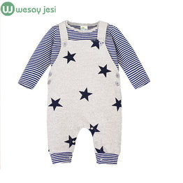 Summer autumn Star Printed cotton T-shirt+Overalls kids clothing set